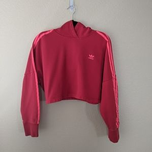 Adidas s red cropped hooded sweatshirt